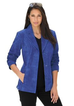 Classic Tailored Suede Blazer   Plus Size Leather Shop   Jessica