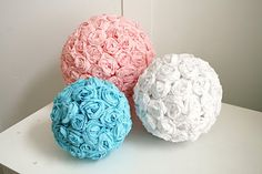 Flower poms with paper streamers!