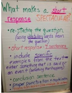 Reading Workshop short respons, anchor charts