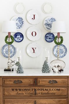 DIY Dollar Tree simple white plates with JOY decals...easy!