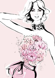 Peonies meet fashion in limited edition Megan Hess illustrations for Mother's Day.