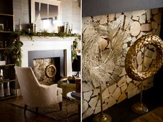 gold wreath, mantle,