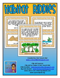 Habitats Riddles Cards game card game