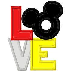 Digi Dolls LOVE Mr. Mouse Head Applique Machine Embroidery Design 4x4 5x7 Mickey. $4.00, via Etsy.