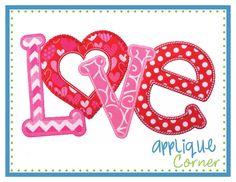 LOVE Horizontal Applique Design
