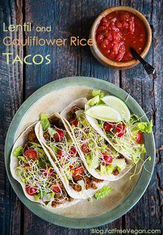 Lentil and Cauliflower Rice Tacos #vegan #recipe