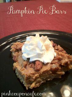 Yummy Pumpkin Pie Bars.  Perfect for fall!