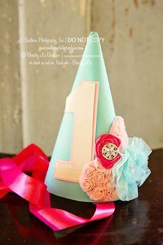 1 aqua pink shabby chic Birthday Girl Hat Party Hat