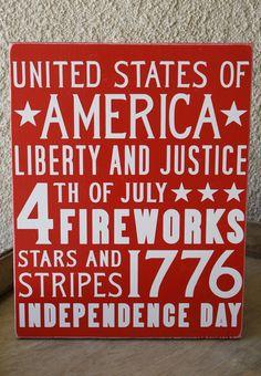 4th of July Subway Art Wooden Sign. $35.00, via Etsy.