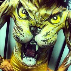 'Roaring' Lion Body art – Natasha Kudashkina