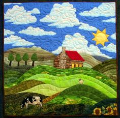 Quilt inspiration and ideas.  I'd love to create 'ground' and hills so they seem realistic.  It is called Constant Hill.