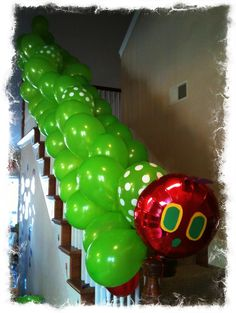 """He was SO hungry he ate the bannister.  So fun for kids!  (Perhaps a cool """"surprise"""" for the morning the day of their birthday?)"""