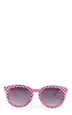 Deb Shops Plastic Frame Sunglasses with Polka Dot Print $6.00