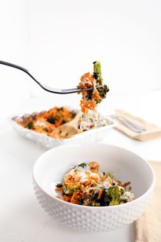 Pesto Broccoli Sweet Potato Rice Casserole - Two Ways! | Inspiralized