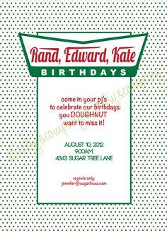 Doughnut Party Invitation Pajama Party Milk Donuts Krispy Dunkin. $18.00, via Etsy.