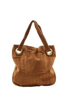 perforated leather shoulder bag