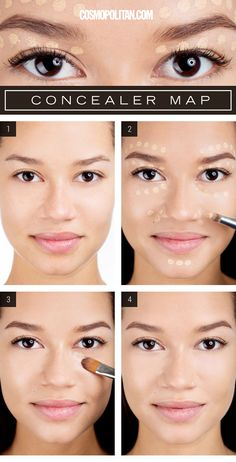 apply concealer, conceal map, perfect face makeup tutorial, makeup concealer, concealer makeup, perfect skin makeup, concealer map, appli conceal, makeup how to
