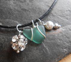 Sea Glass Jewelry, Beach Cluster Necklace - I HEART SPARKLE.