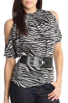 24/7 FRENZY Open Shoulder Animal Print Top In Gray Black