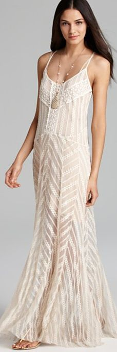 Lovely thin strap lace maxi dress fashion