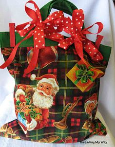 Reusable Christmas fabric bags (several) from Threading My Way ~ click the links within the post for the tutorials used gift bags, holiday christma, fabric bags, christmas fabric, christma creativ, reusabl gift, reusabl christma, christma fabric