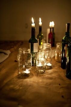 Old wine bottle candle holders