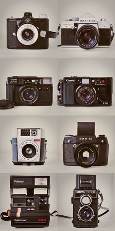Vintage Cameras that can be used in design of cardboard camera.
