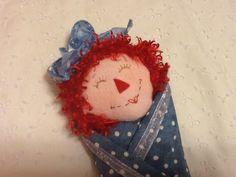 Swaddle Baby Raggedy Ann Doll 8 inch Soft Cuddly by PeekabooPorch