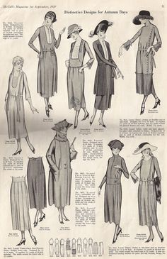September 1920 advertisemen shows how the flapper style changed during the fall.