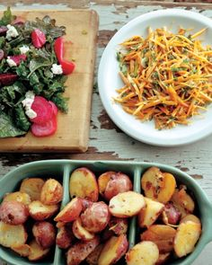 Beet and Kale Salad with Goat Cheese,  Carrot Salad with Parsley and Spring Onions,  Pan-Roasted Romanesco Cauliflower, and  New Potatoes with Garlic Scapes  Recipes