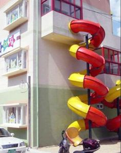 can you image leaving your house like this? Okay, maybe it would be kinda cool (apartment slide)