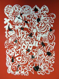 SALE Hearts and Hatters  Hand Cut Paper Illustration by anissalee, £75.00