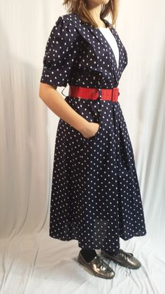 Polka Dot Navy dress by whattawaist on Etsy, $37.00