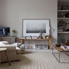 Neutral rustic living room   Decorating
