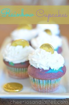 Rainbow Cupcakes; the ultimate cupcake for kids// cheeriosandlattes.com