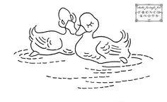 Vintage Ducks Embroidery Transfer Pattern