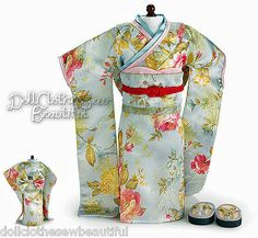 "Brocade JAPANESE KIMONO + TATAMI SANDALS made for 18"" American Girl Doll Clothes"