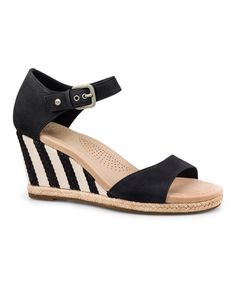 Another great find on #zulily! Black Atasha Stripe Leather Wedge - Women #zulilyfinds