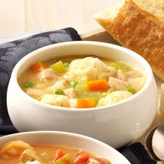 Grandma's Chicken 'n' Dumpling Soup.  Made this for dinner tonight.  Yummy!  I used a chicken in a bag and cooked it, skipping the first step of the recipe.  When the chicken was cool I stripped all the meat and added it to the pot with the juice from the bag and all the veggies.