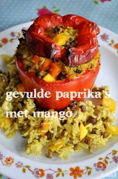 Gevulde paprika's met mango - (en rijst en courgette)