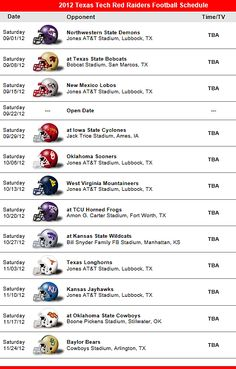 Texas Tech Red Raiders 2012 Football Schedule