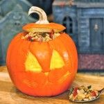 Butternut Squash, Bacon and Pinenut Risotto with Brown Sage Butter Served in a Roasted Mini Jack-o-Lantern - perfect Halloween party food!
