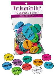 character education, kid classroom, build charact, charact trait, buttons