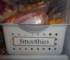 Freezer smoothies!! Great for a quick breakfast on the go OR a satisfying afternoon snack. Make 24 smoothie packets (2 servings each) in about 30 minutes!