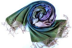 100 Silk TurqoisePink Stripes Scarf Traditional by atohumcu