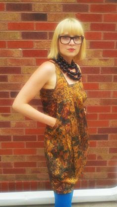 Gold Floral Dress, re-invented from a vintage skirt