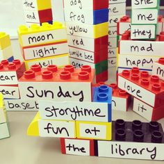"""Came across this idea recently and decided to try it out on the library storytime kids as a """"Build-A-Poem"""" activity during National Poetry Month. I labeled bunches and bunches of legos and left them out after Sunday's storytime last weekend. It turned out to be more of a Build-A-Verse than the Build-A-Poem activity I had intended it to be, but even so it was all good fun."""