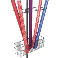 Our NEW elfa® Gift Wrap Rack, used in combination with our Platinum elfa Deep Basket (sold separately, listed below), simply and beautifully organizes long rolls of gift wrap, posters, umbrellas and much more.