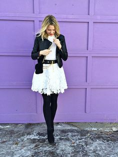 lace, fashion, white dress black tights, winter white, dresses, jackets, etern style, blogger style, leather
