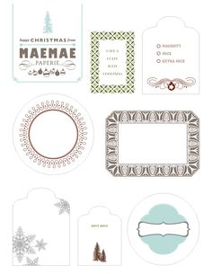 Digging through our archives and found this little gem of a printable. Perfectly perfect gift tags designs by MaeMae Paperie - http://www.maemaepaperie.com/    To print from the web, click here!  http://www.stylemepretty.com/wp-content/uploads/2009/12/TAGS.pdf